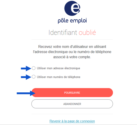 Choix du mode de récupération de mot de passe