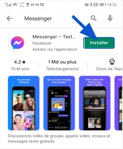 Bouton pour installer l'application Facebook Messenger