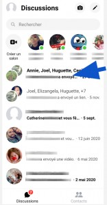Onglet Discussions de Facebook Messenger