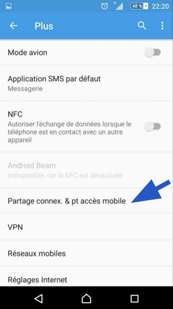 Menu partage de connexion sous Android
