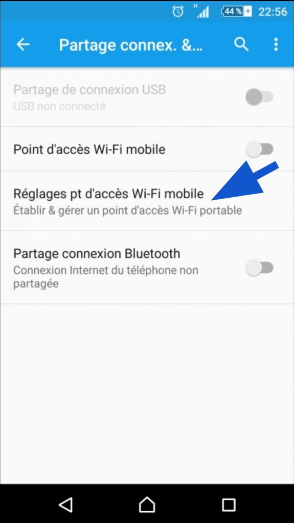 Faire les réglages du partage de connexion