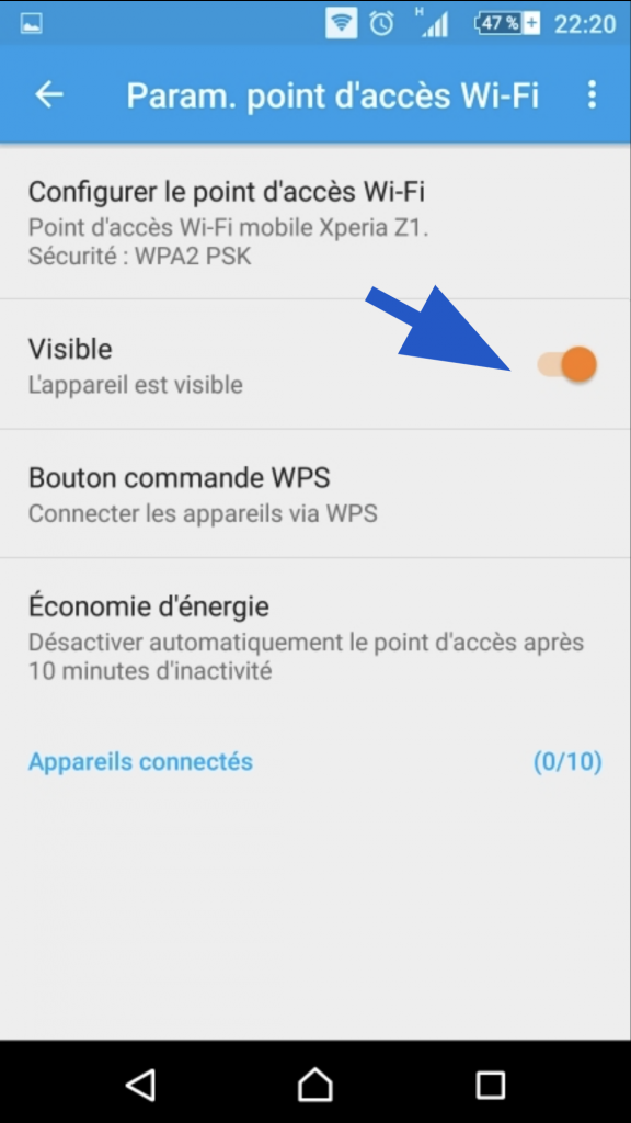 Curseur de visibilité du smartphone Android