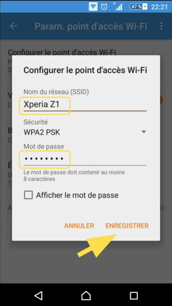 Identifications du point d'accès Wifi