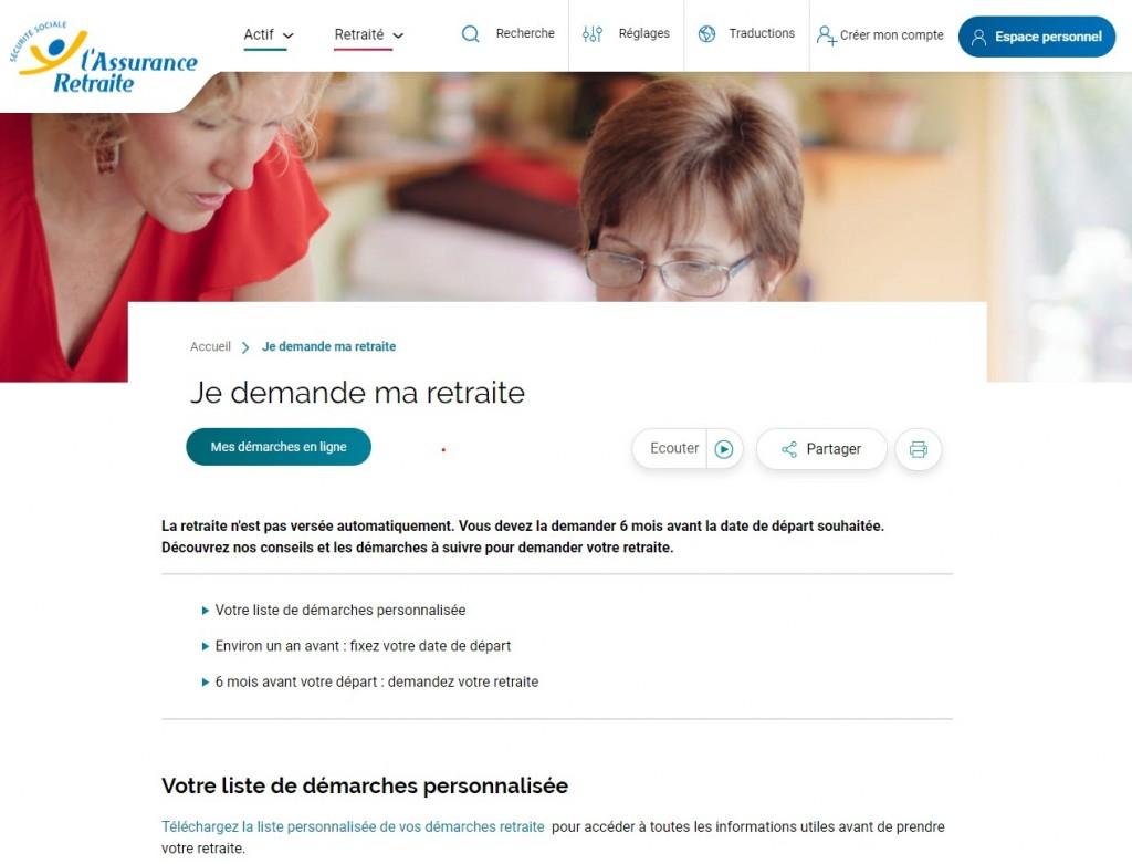 Page d'accueil du site de l'Assurance Retraite