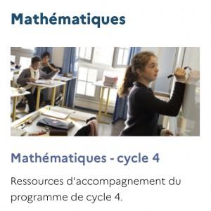 Page mathématique cycle 4 du site Eduscol