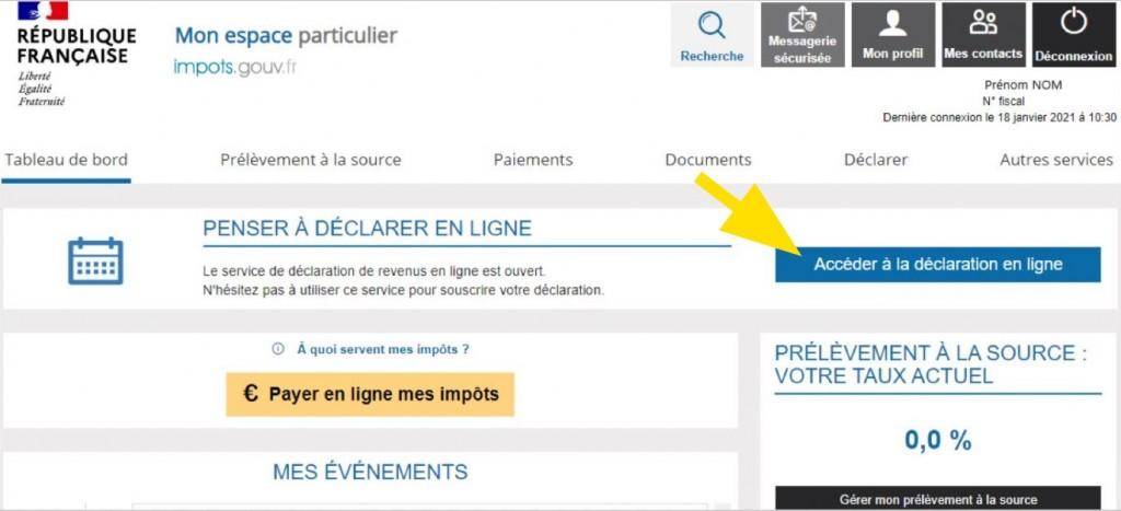 Bouton pour Accéder à la déclaration en ligne sur le site des impôts