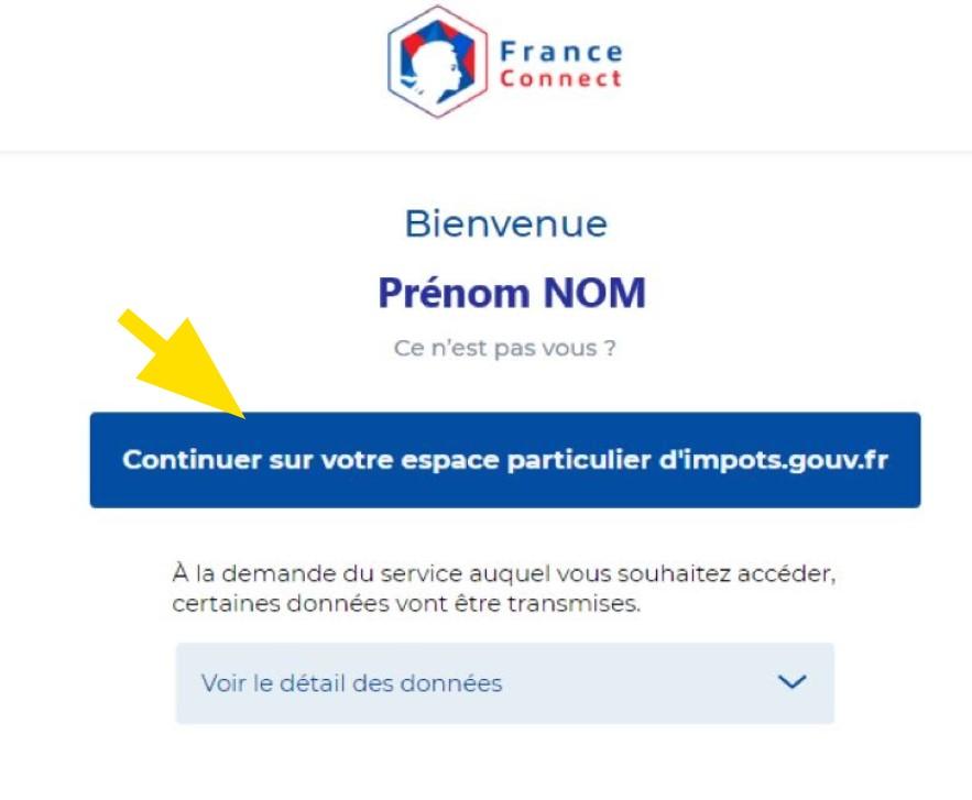 Bouton pour continuer sur l'espace particulier d'impots.gouv.fr