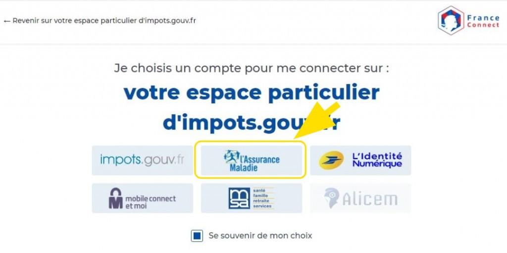 Bouton pour choisir l'organisme sur France Connect (exemple: Ameli)