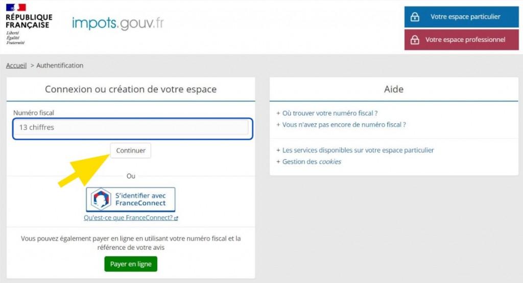 Formulaire de saisie du numéro fiscal sur le site des impôts