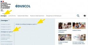 Onglet pour accéder au cycle 4 du site Eduscol