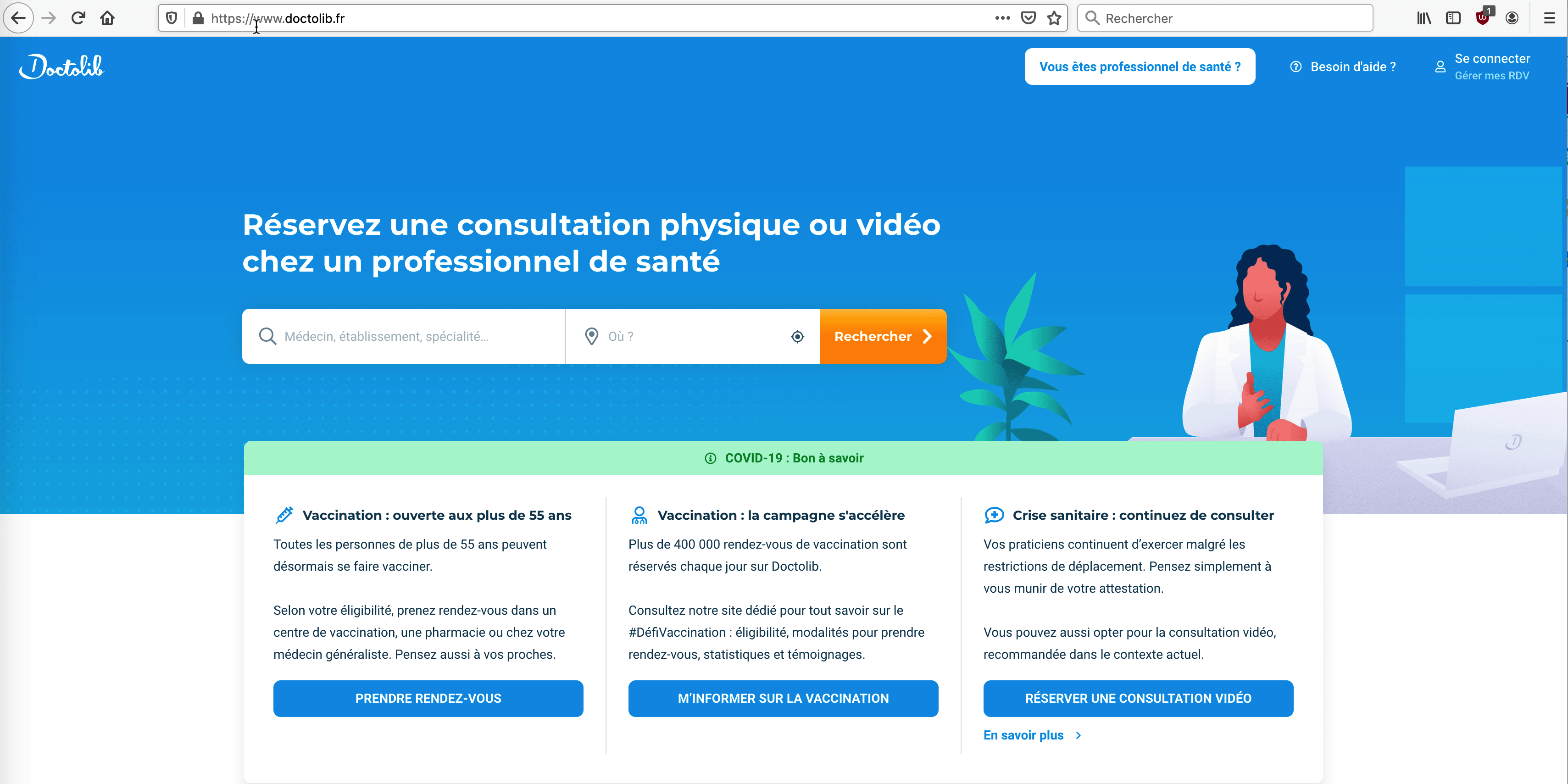 Page d'accueil du site Internet Doctolib