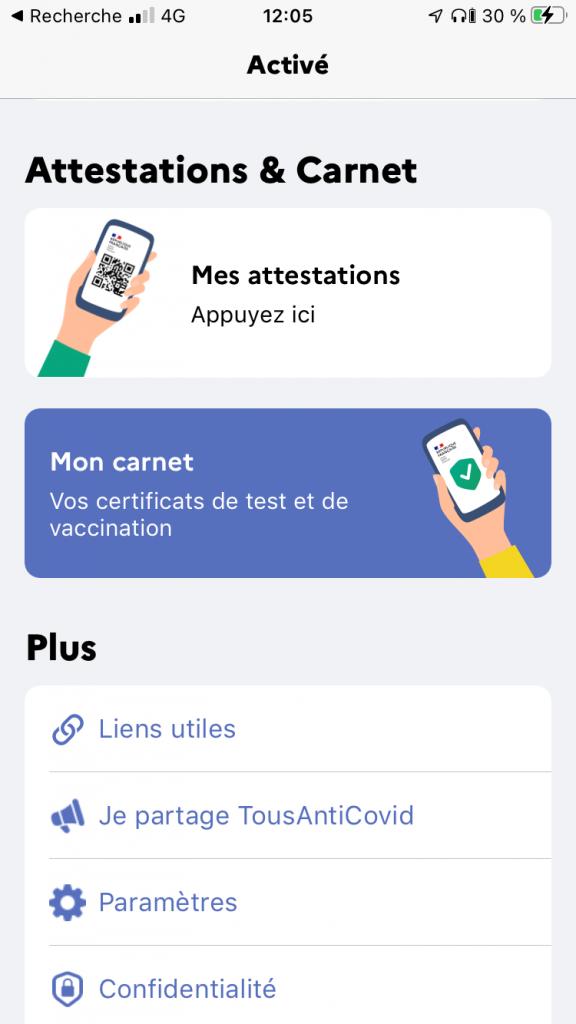 carnet sur l'application TousAntiCovid