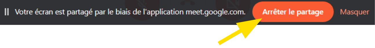 Arrêter de partager son écran sur Google Meets