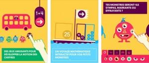 3 affichettes illustrant l'application Quick maths Jr