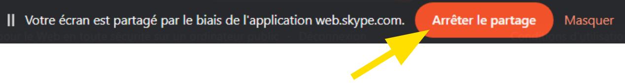 Arrêter de partager son écran sous Skype