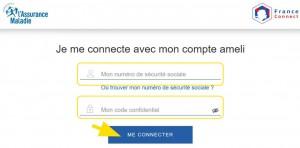 Formulaire pour se connecter avec son identifiant et mot de passe du compte ameli