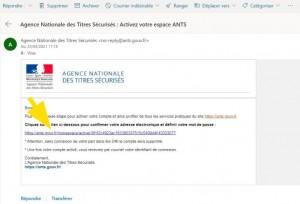 Lien d'activation pour finaliser la création du compte ANTS