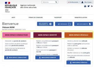 Page d'accueil de l'espace personnel ANTS