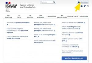 Page d'accueil du site ANTS