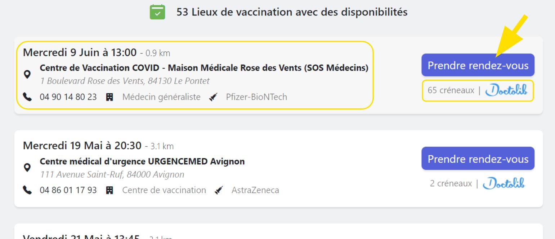 Liste des différents centres de vaccination