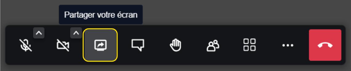Option de partage d'écran sous jitsi