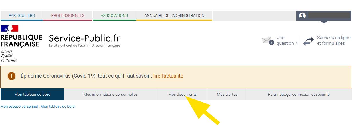 Menu du tableau de bord du compte service-public.fr, avec l'onglet Mes documents pour trouver le récépissé de votre signalement.