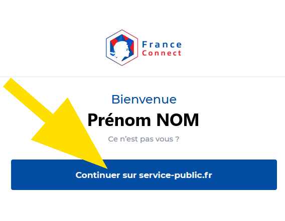 Partie avec le bouton Continuer sur service-public.fr
