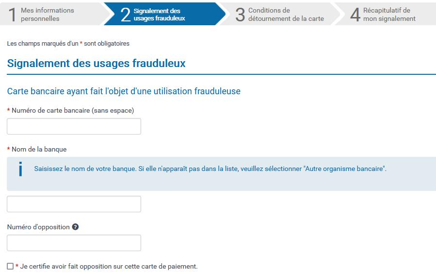 Etape 2 du formulaire : Signalement des usages frauduleux