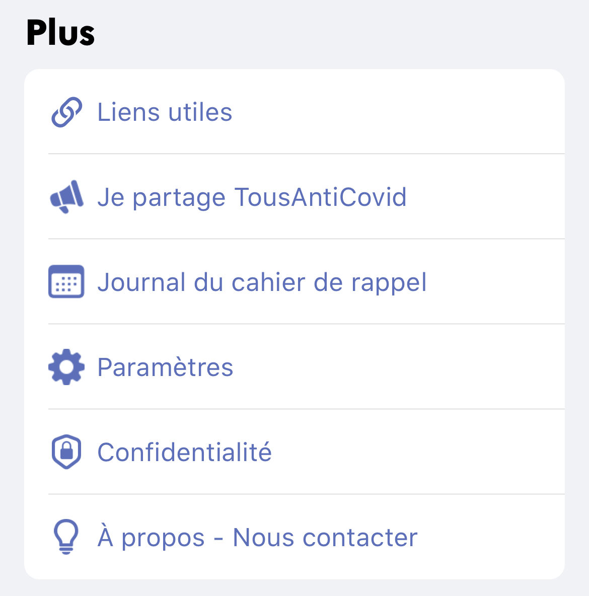 Rubrique Plus TousAntiCovid