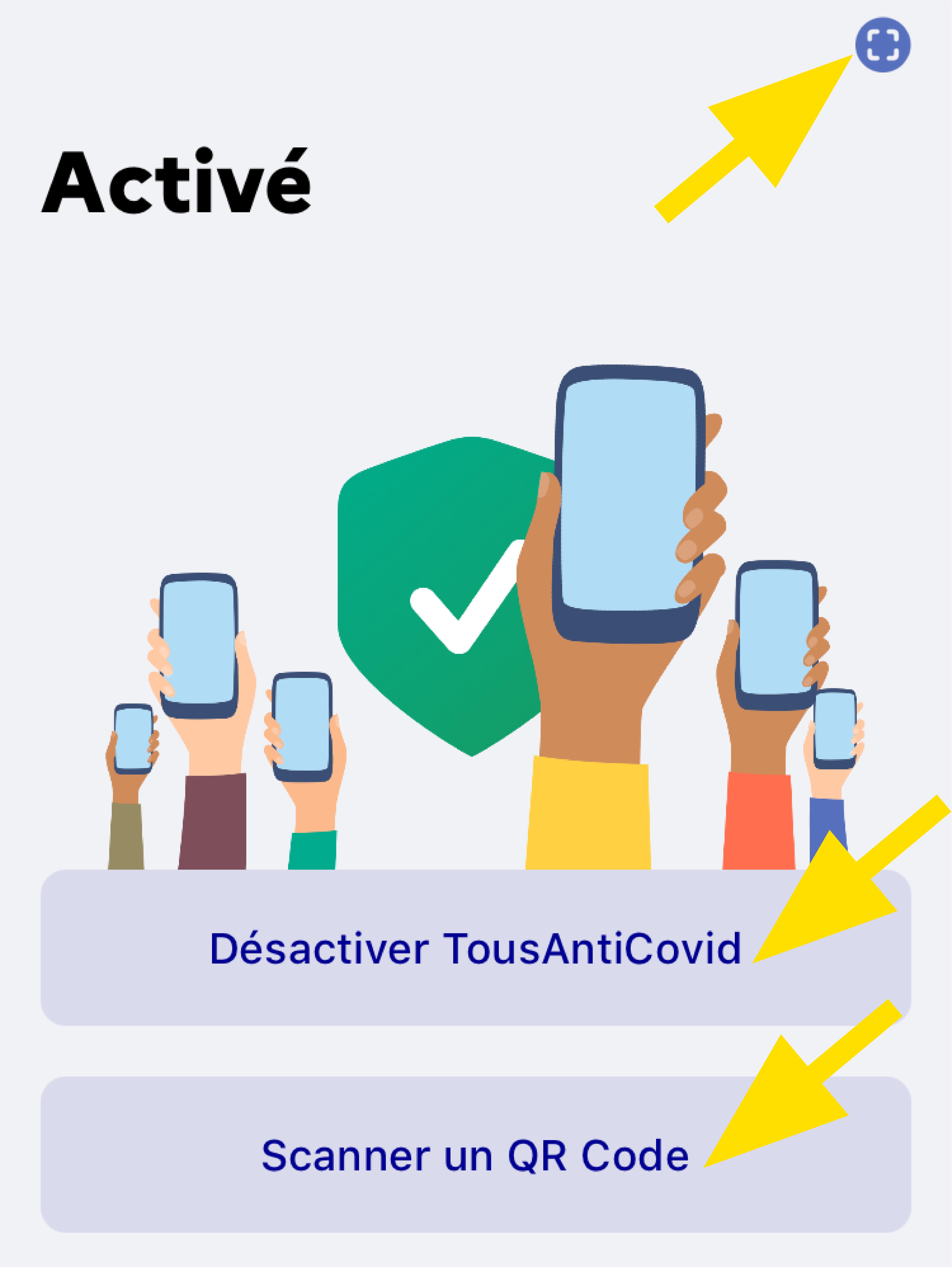 Rubrique activé TousAntiCovid