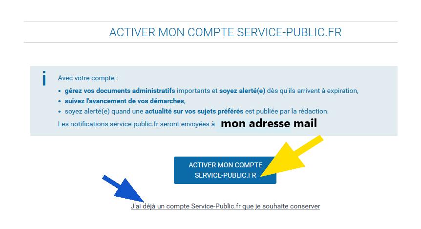 Partie de la page avec le bouton bleu Activer mon compte servicepublic.fr