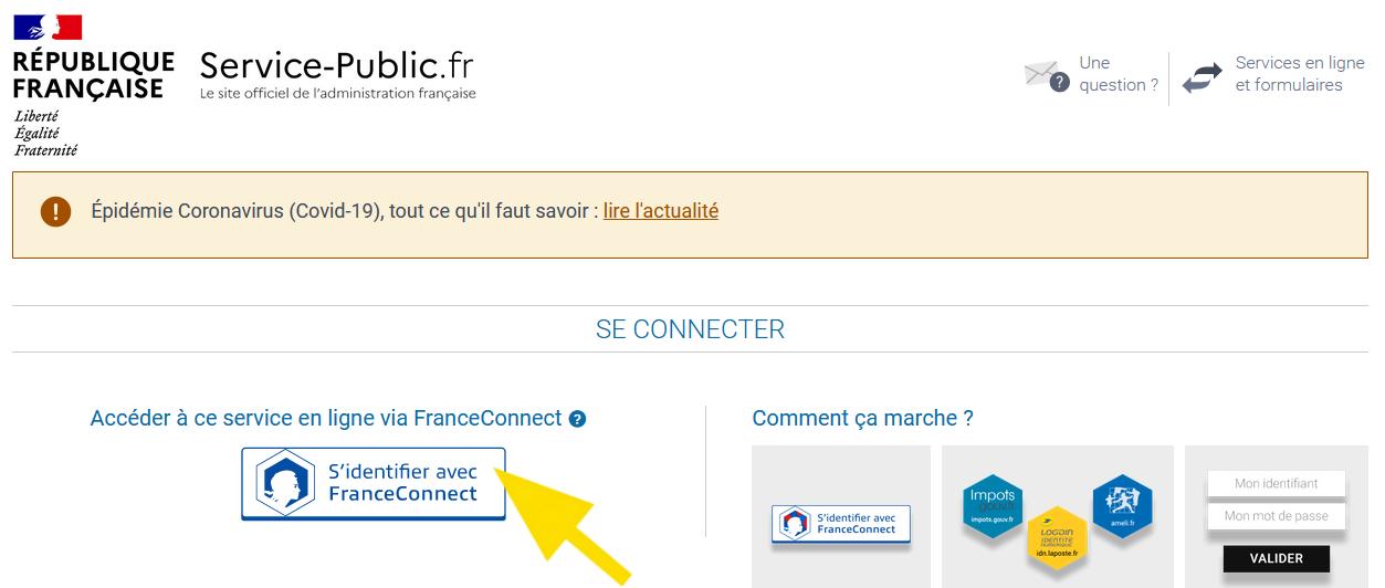 Page avec le bouton S'identifier avec FranceConnect