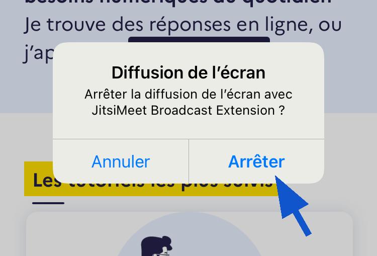Arrêter le partage d'écran sur Jitsi iPhone