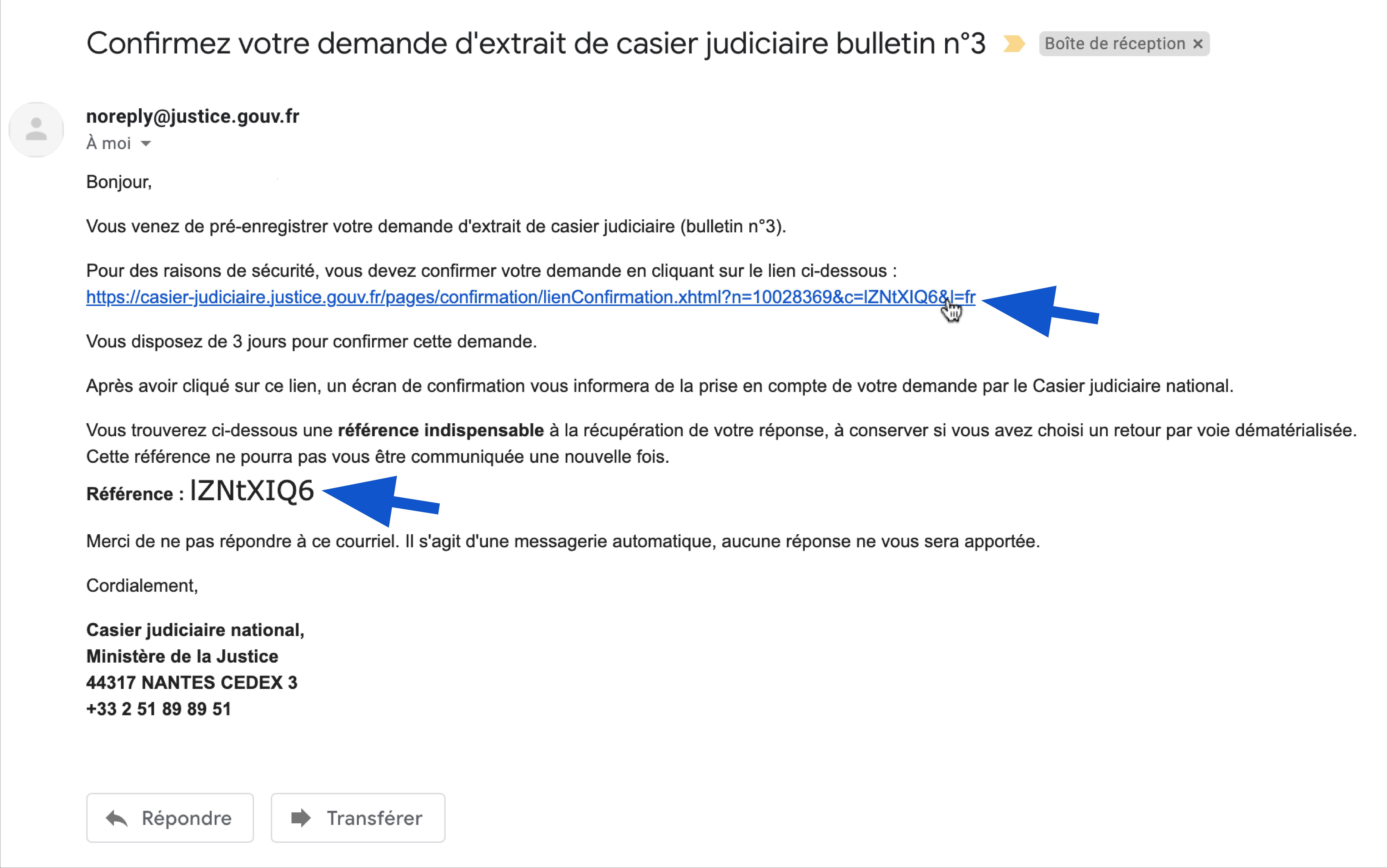 Mail de confirmation de demande d'extrait de casier judiciaire