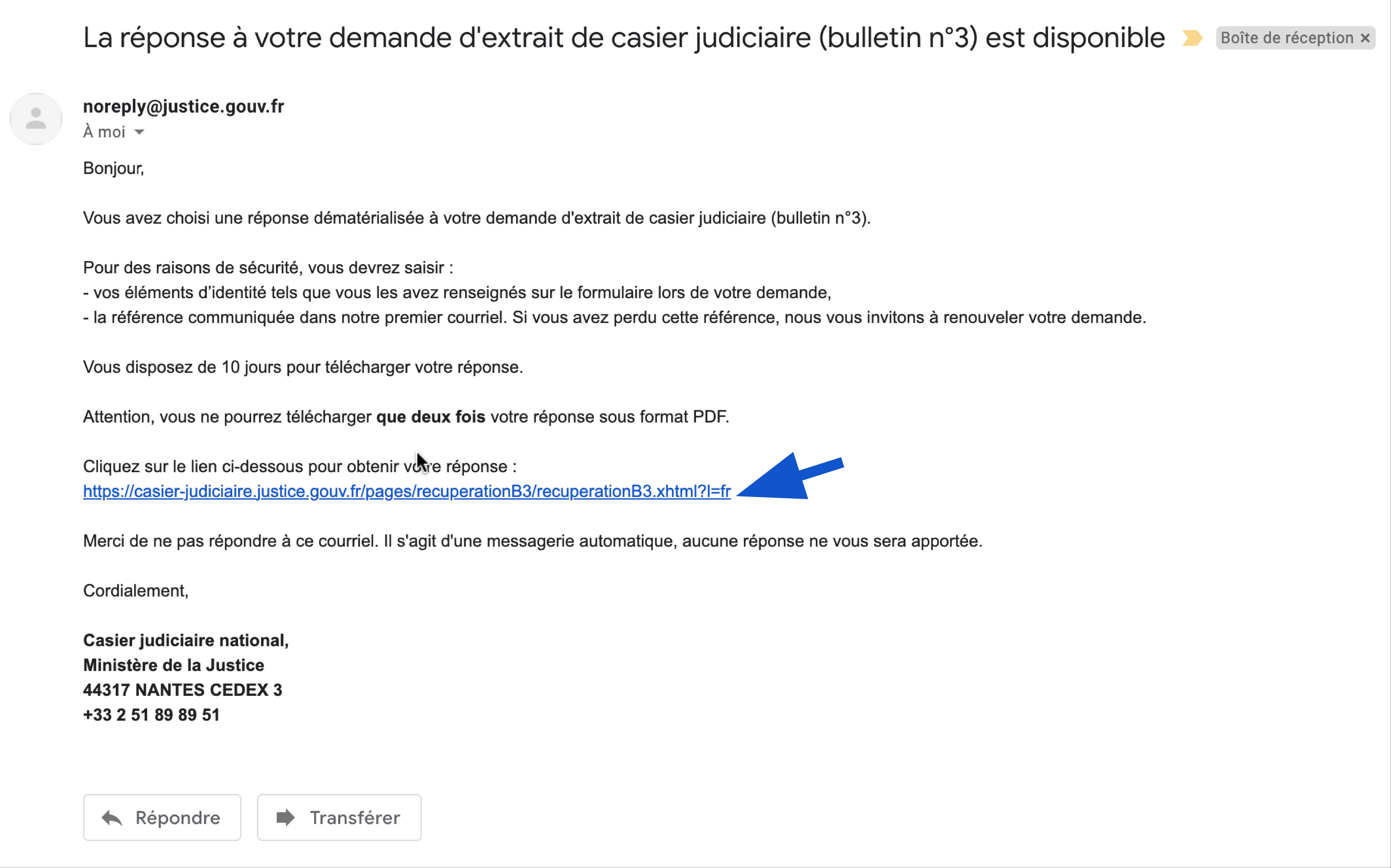 Mail contenant le lien pour télécharger mon extrait de casier judiciaire