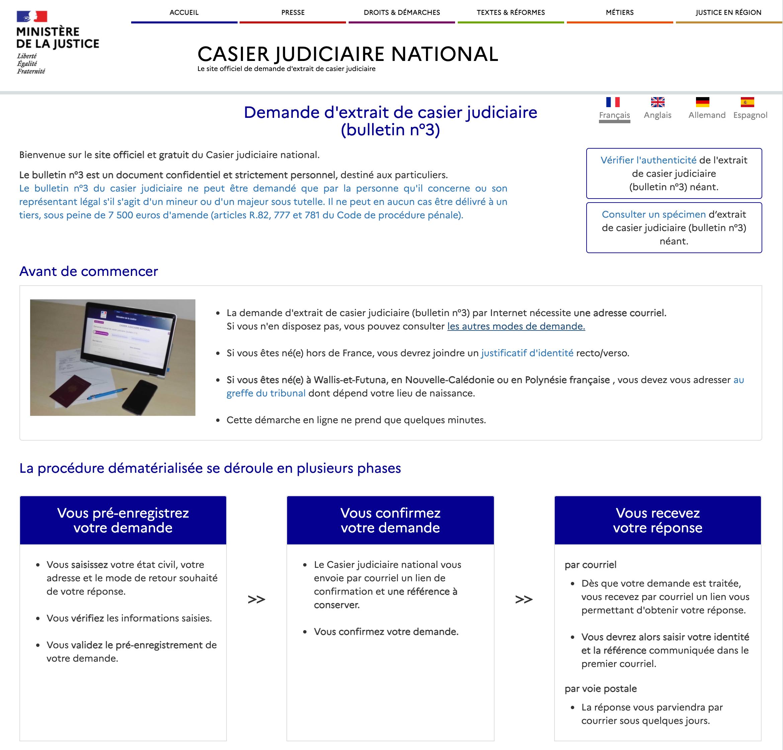 Page du site officiel pour demander un extrait de casier judiciaire