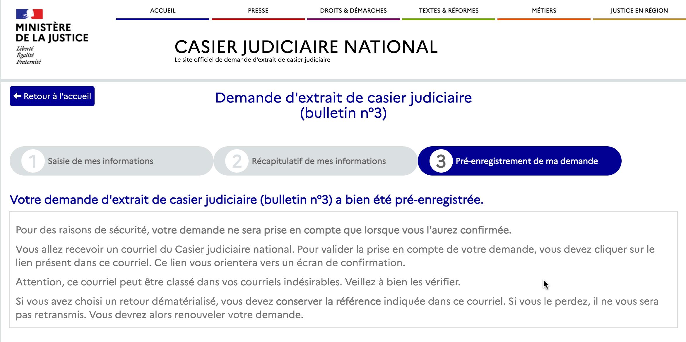 Page pour valider le pré-enregistrement de demande d'extrait de casier judiciaire