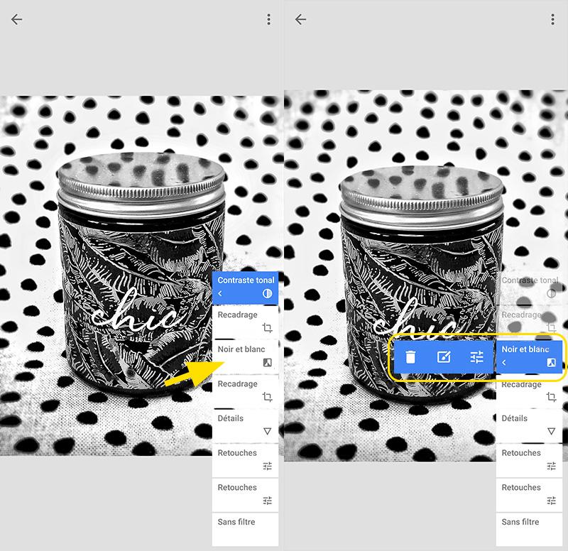 Fonction affichant les modifications de l'application Snapseed