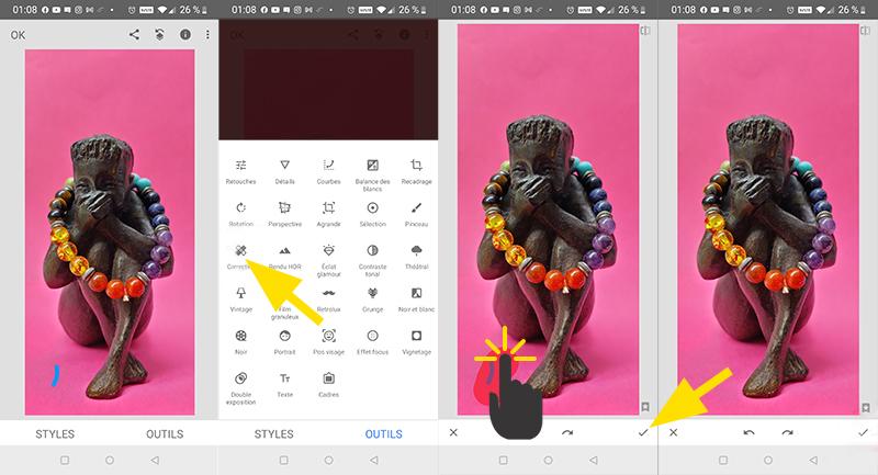Exemple d'utilisation de la fonction Correction de l'application Snapseed