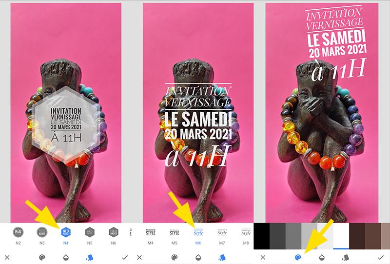 Exemple de styles de mises en formes de texte de l'application Snapseed