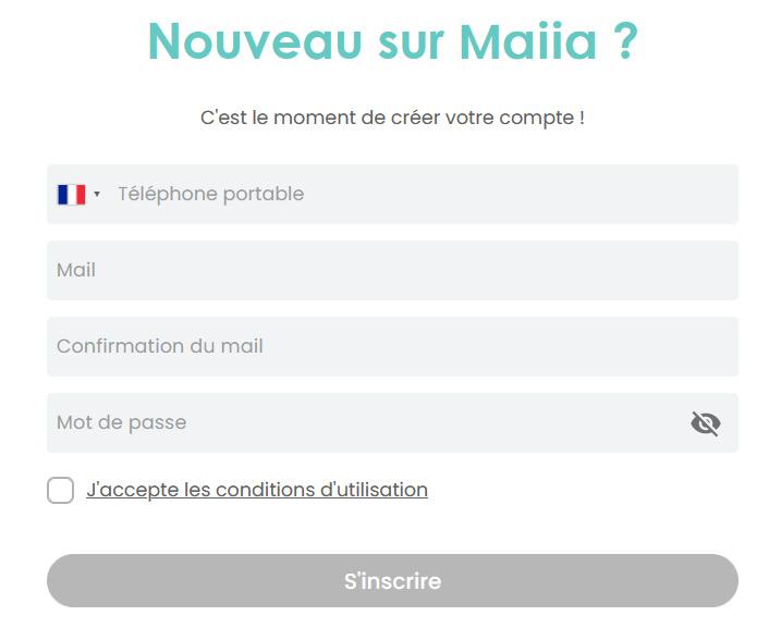 Maiia, création compte