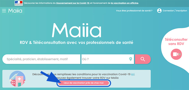 Maiia, page d'accueil