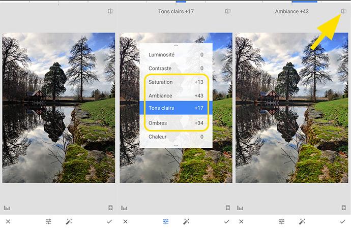 Fonctions retouches des outils de l'application Snapseed