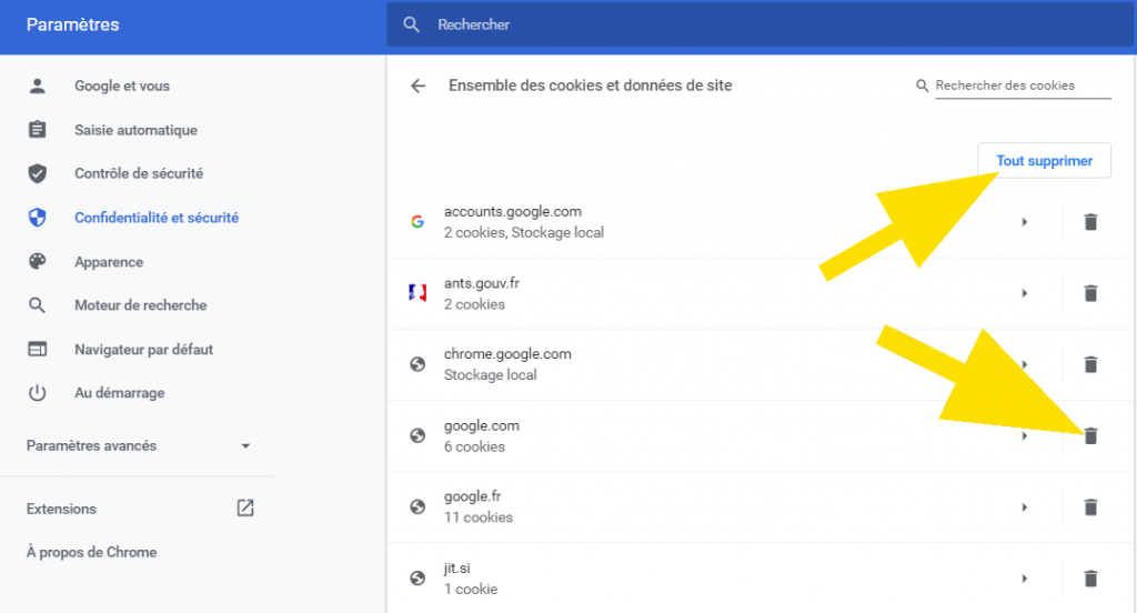 Navigateur Chrome -Cliquez sur tout supprimer pour effacer tous les cookies ou cliquez sur la poubelle située en face du site à effacer