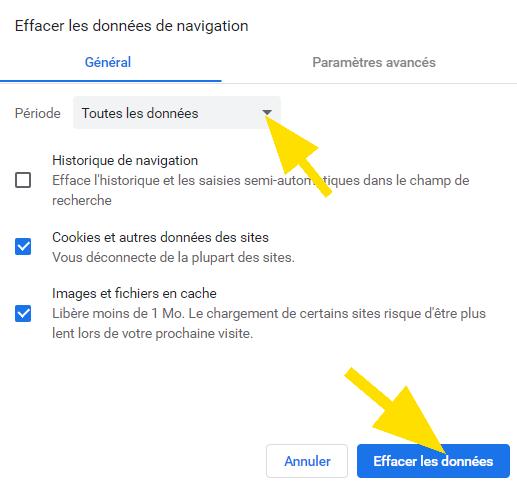 Effacer les données de navigation sur Chrome, en sélectionnant une période, ensuite cliquez sur Effacer les données