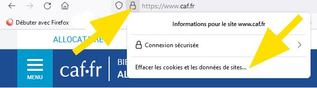 Cliquez sur le cadenas dans la barre d'adresse de Firefox et sélectionnez Effacer les cookies et les données de sites