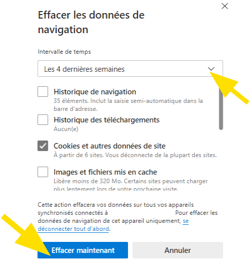 Effacer les données de navigation sur Microsoft Edge, choisissez la période en cliquant dans le menu déroulant et cliquez sur Effacer maintenant