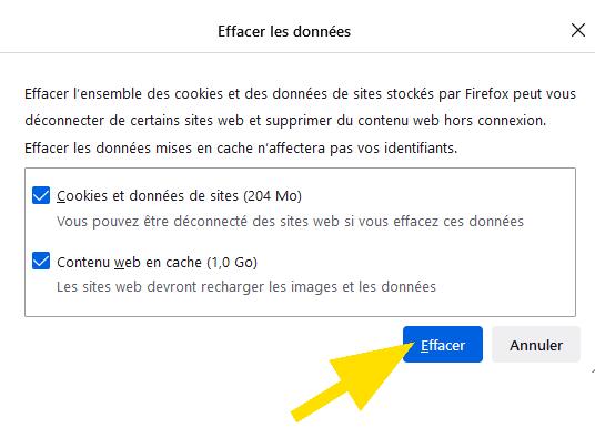 Cliquez sur le bouton Effacer pour supprimer les données sur Firefox