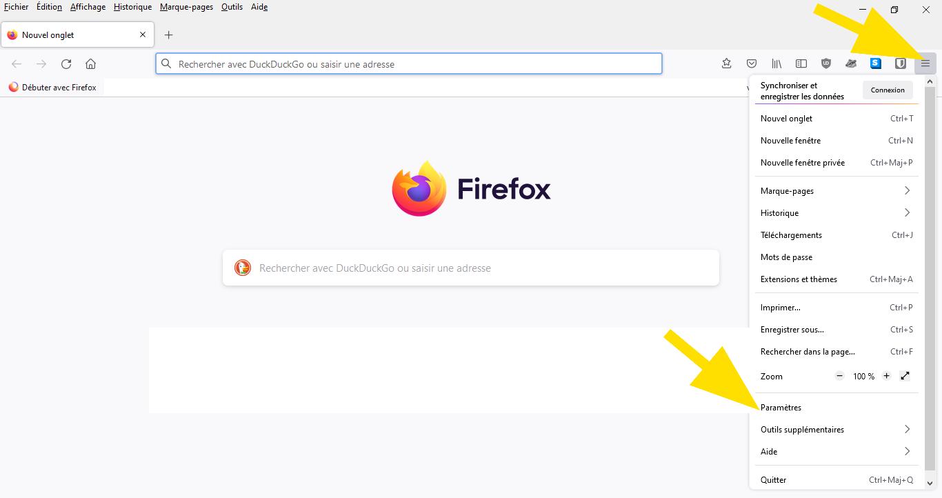 Dans Firefox, cliquez sur le menu et ensuite sur Paramètres