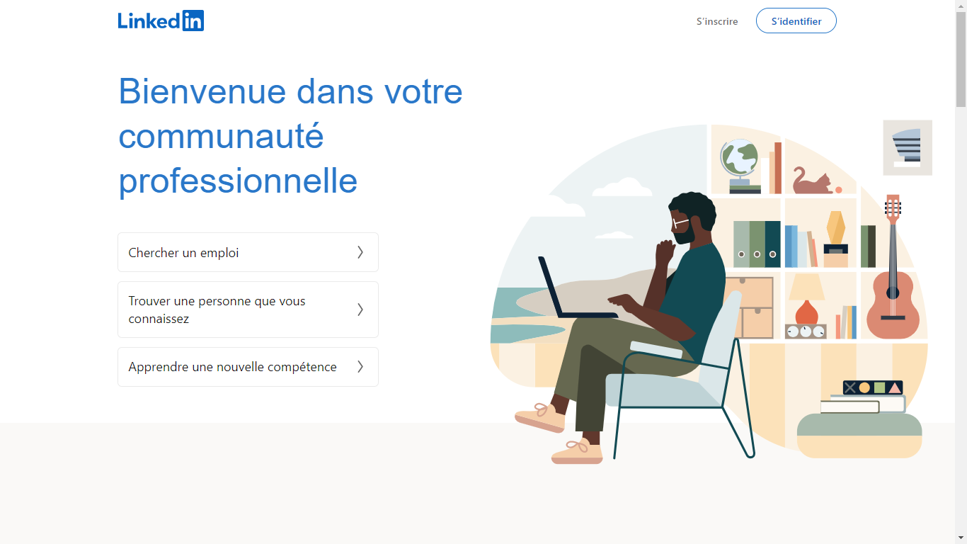 Page d'accueil LinkedIn